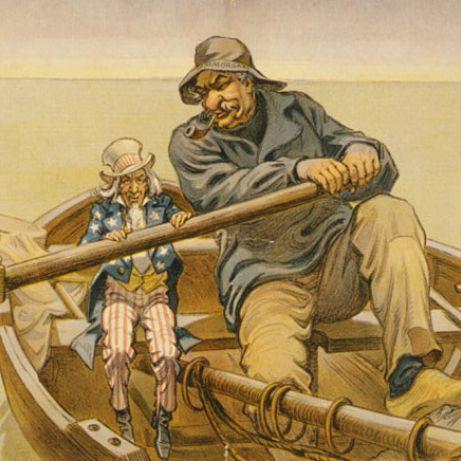 J.P. Morgan and Uncle Sam political cartoon