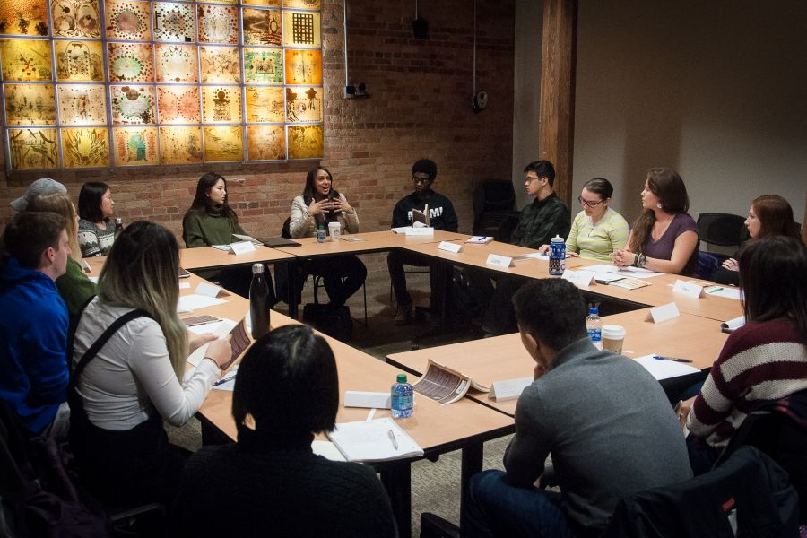 Poet Natasha Trethewey meeting with students