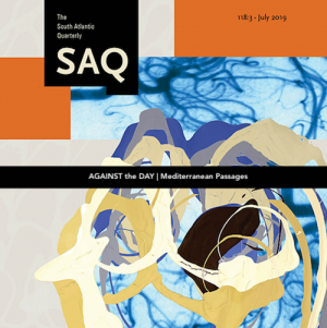 Cover image (cropped) of the journal South Atlantic Quarterly, featuring an abstract image of blue, purple, beige, and black paint swirls