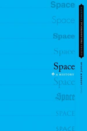 "Book cover of Space: A History - sky blue background, right side has the column the word ""Space"" in different fonts"