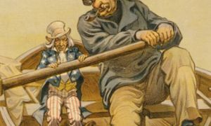 J.P. Morgan and Uncle Sam political cartoon