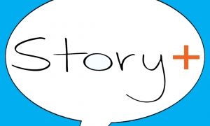 comment bubble with words Story Plus inside