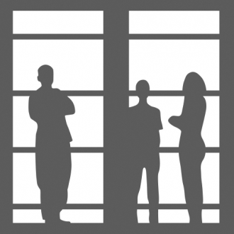 FHI logo - square window with 3 figures