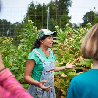 Saskia Cornes teaching at the Duke Campus Farm in 2018
