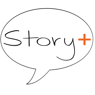 Story+ logo: a word bubble with the word Story+ inside