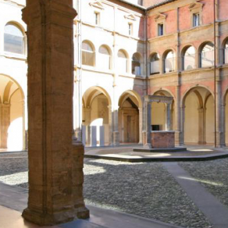 Historic courtyard at University of Bologna - photo courtesy of Academy for Global Humanities & Critical Theory