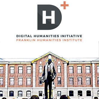 DHI@FHI logo and image NCCU campus stylized by comics photo filter