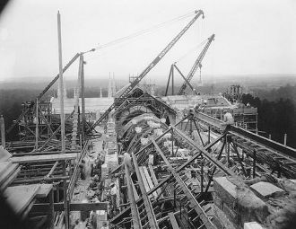 Archival photograph of the construction of the roof of the Duke Chapel