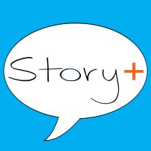 comment bubblel with words Story Plus inside
