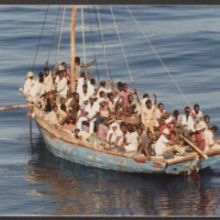 U.S. Coast Guard photograph of Haitians at sea, 1981 Caribbean Sea Migration Collection Rubenstein Special Collections Library, Duke University.