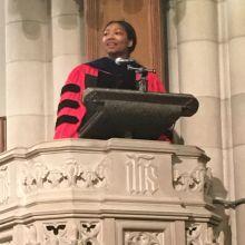 female preacher at pulpit at Duke Chapel