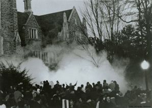 Duke University Allen Building Takeover Supporters Being Tear-Gassed, February 13, 1969