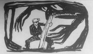 Illustrated coal miner holding up an anthromorphised coal mine