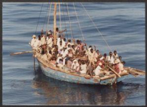 U.S. Coast Guard photograph of Haitians at sea