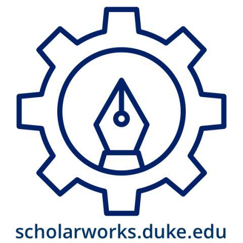 Duke Library ScholarWorks logo: fountain pen tip inside a gear