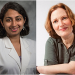 Dr. Sneha Mantri (left) wears a white lab coat and smiles at the camera. Dr. Deborah Jenson (right) wears a dark green shirt and smiles at the camera.