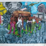 Art depicting conflict in Congo and casket being bourne