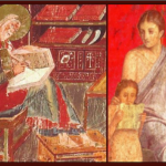 Fresco details showing saint writing in codex on left and woman and child with scrolls on right