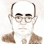 Drawing of German philosopher Theodor W. Adorno, by Leandro Gonzalez de Leon