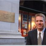 Niko Pfund in front of the Oxford University Press offices in New York