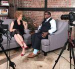 """Mark Anthony Neal, right, interviews writer Michaela Angela Davis on """"Left of Black"""" in 2017."""