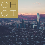 Skyline of Santiago, Chile, with Andes in the background, overlaid with CHCI logo