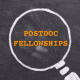 "magnifying glass icon in white chalk, with the text ""POSTDOC FELLOWSHIPS"" in circle"